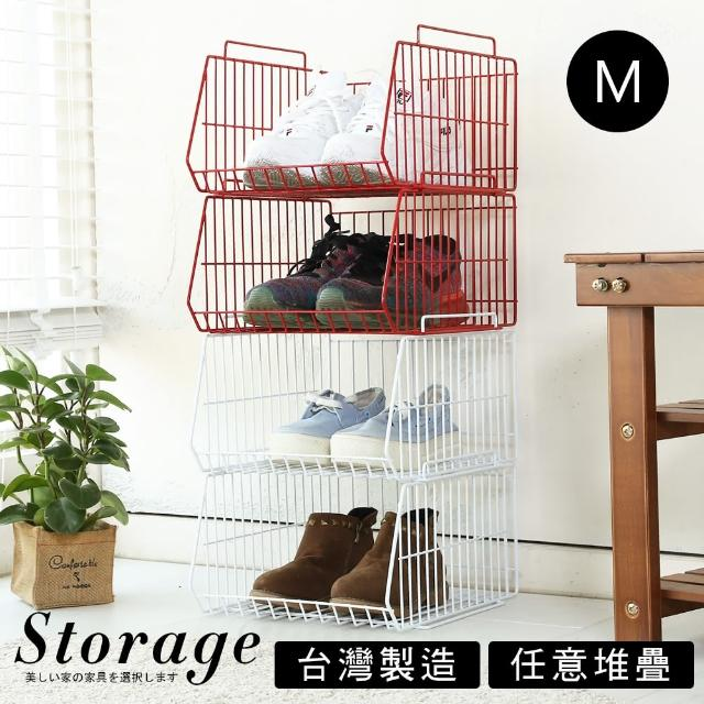 【Akira】4入組-萬用可堆疊斜口籃-中M(置物籃 收納籃 整理籃 廚房架)