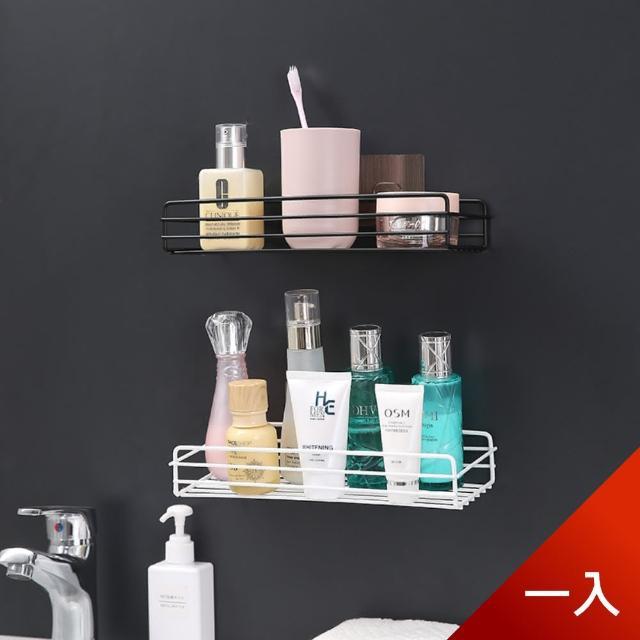 【Dagebeno荷生活】免打孔長方形鏤空收納鐵架 浴室廚房無痕壁掛置物架