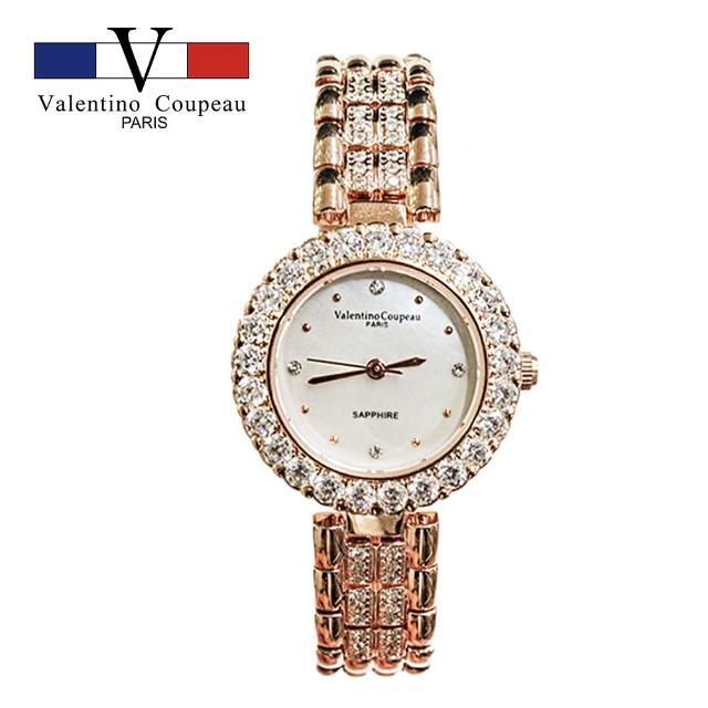 【Valentino Coupeau】閃耀星鑽珍珠母貝玫瑰金淑女鋼錶-e(范倫鐵諾 古柏 VCC)