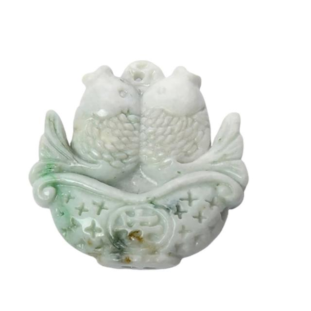 【十方佛教文物】年年有魚{緬甸玉}雙面巧雕玉珮