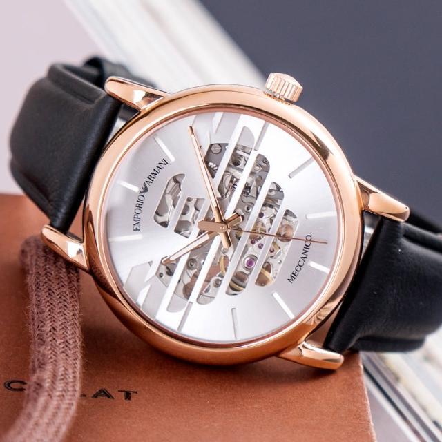 【EMPORIO ARMANI】亞曼尼 公司貨 Luigi 展翅飛鷹鏤空皮革機械腕錶/黑x玫瑰金框(AR60031)