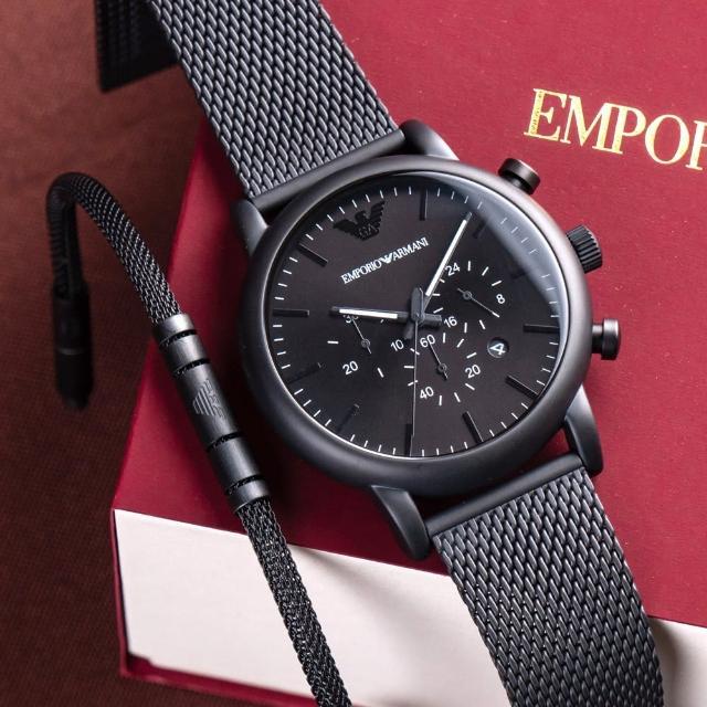 【EMPORIO ARMANI】亞曼尼 公司貨 Luigi 黑鋼經典三眼計時米蘭腕錶禮盒組/黑 附黑色手鍊 二件組(AR80041)