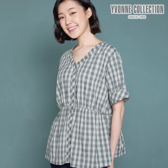 【Yvonne Collection】嘉頓格紋V領開襟短袖上衣(夜幕綠)