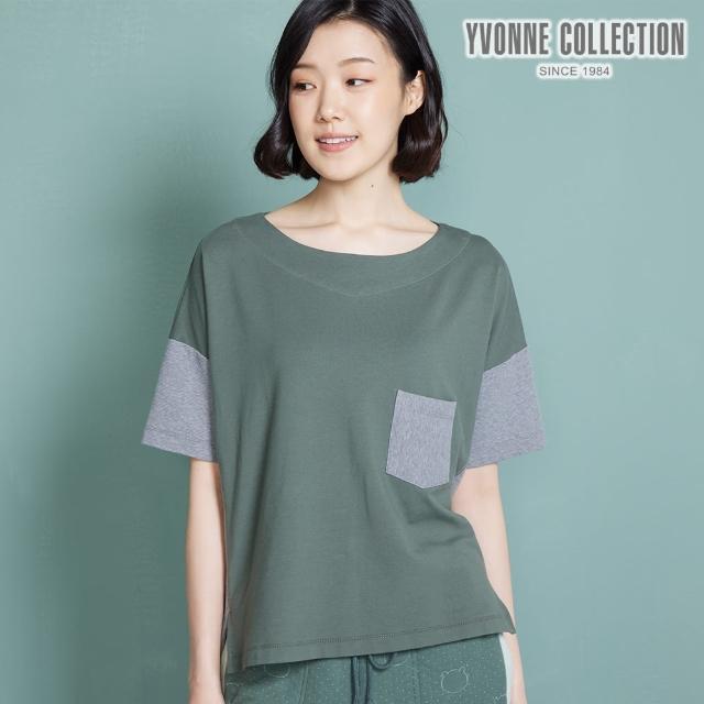 【Yvonne Collection】雙色拼接短袖上衣(夜幕綠)
