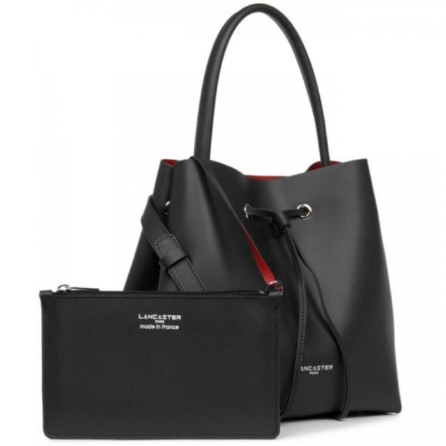 【LANCASTER】手提/肩背 雙背帶經典皮革水桶包(黑色)