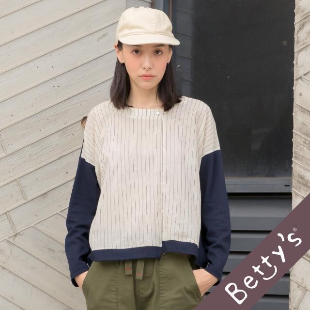 【betty's 貝蒂思】微透膚條紋拼接上衣(深藍)