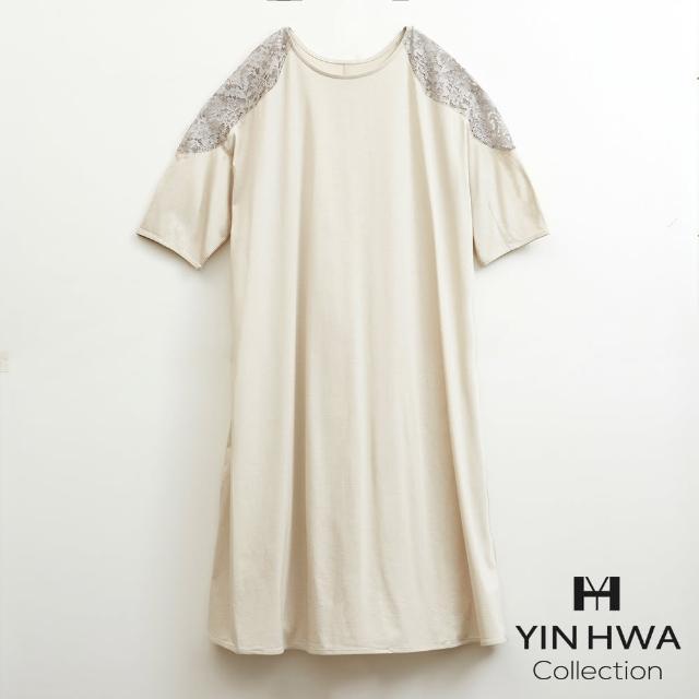 【YIN HWA 盈樺】LAPINE 優雅簡約休閒細緻蕾絲剪接洋裝