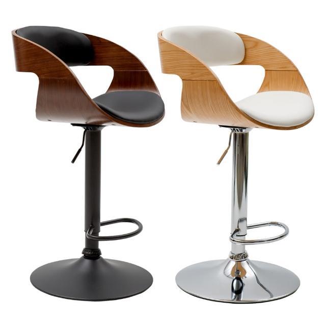 【PEACHY LIFE 完美主義】薩拉現代復古皮革木吧台椅/高腳椅(二色可選)