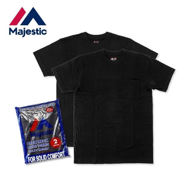 【Majestic】6.7oz日本線重磅口袋圓筒上衣組(黑色2件入)