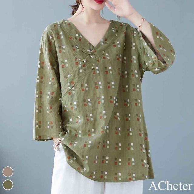【ACheter】日本綠茶舫盤扣印花棉麻寬鬆上衣#110133現貨+預購(2色)