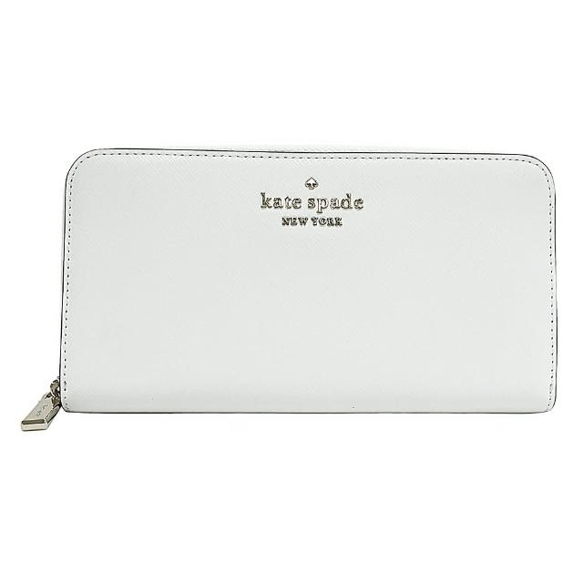 【KATE SPADE】Kate Spade銀字LOGO防刮牛皮12卡拉鍊風琴長夾(白)