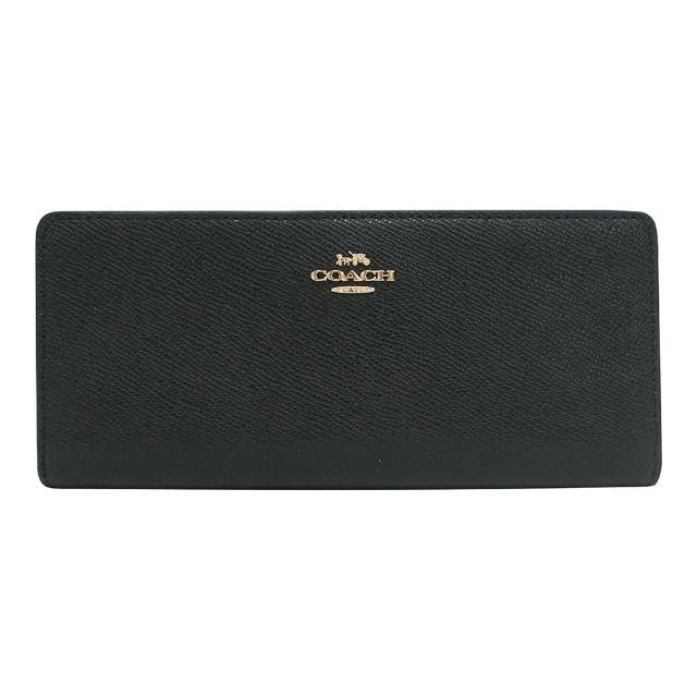 【COACH】COACH金字LOGO薄型荔枝紋牛皮12卡釦式對折長夾(黑)