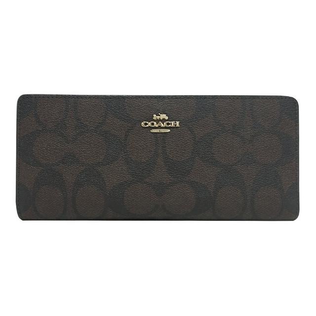 【COACH】COACH金字LOGO薄型印花PVC 12卡釦式對折長夾(深褐x黑)