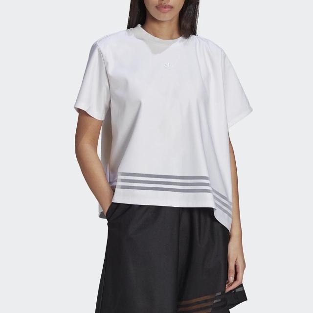 【adidas 愛迪達】上衣 女款 寬版 運動 健身 慢跑 三葉草 T-SHIRT 白 GN3189