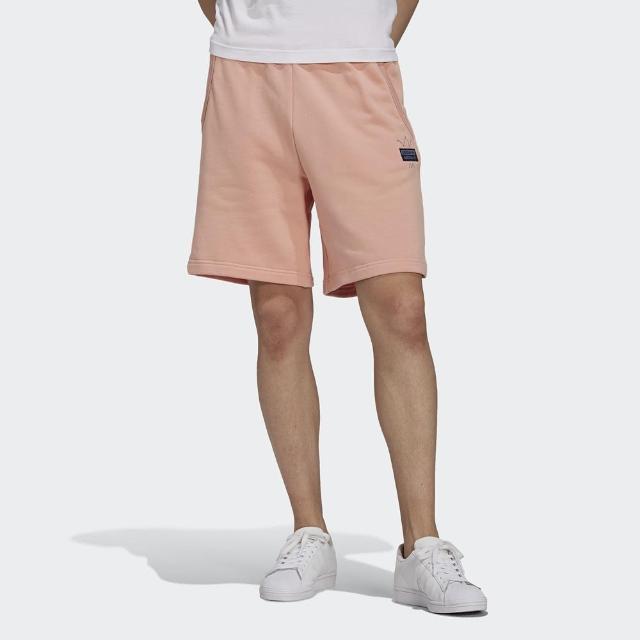 【adidas 愛迪達】短褲 男款 運動 健身 慢跑 三葉草 ABSTRACT SHORT 粉 GN3287