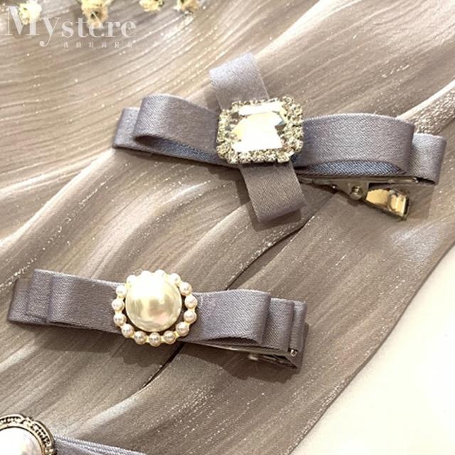 【my stere 我的時尚秘境】優雅氣質珠光緞面蝴蝶髮夾-灰(韓式 氣質 緞面 珍珠 蝴蝶結)