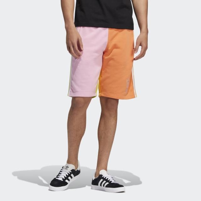 【adidas 愛迪達】短褲 男款 女款 運動 健身 慢跑 三葉草 LOVE UNITES BLO 粉橘 H43975