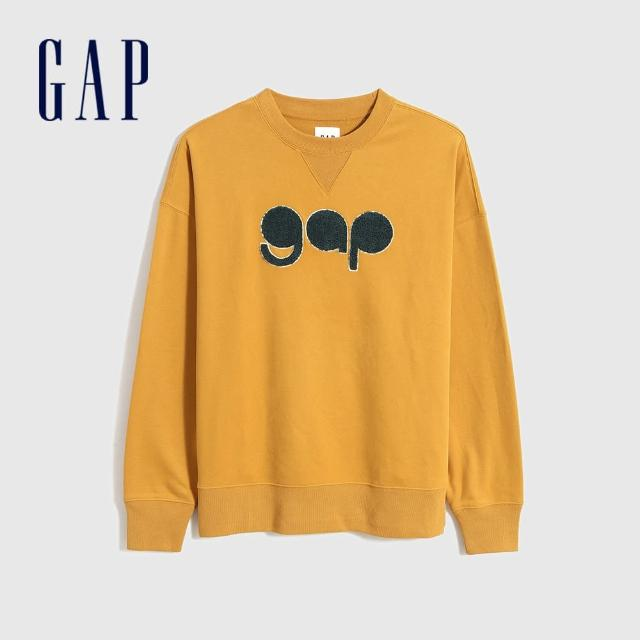 【GAP】男裝 Logo法式圈織軟休閒上衣(756678-金黃色)