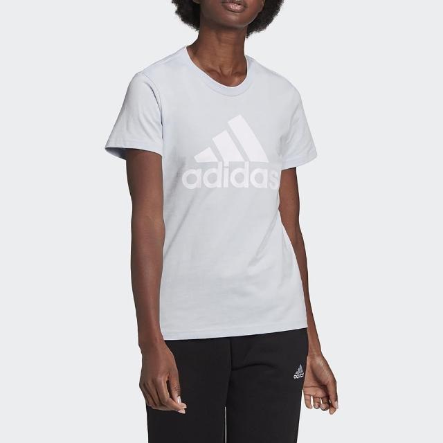 【adidas 愛迪達】上衣 女款 運動 健身 慢跑 W BL T 米白 GV4029