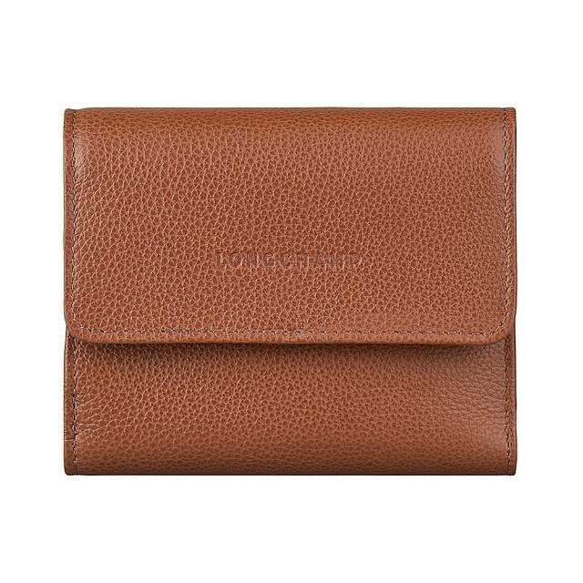 【LONGCHAMP】LONGCHAMP LE FOULONNE壓印LOGO牛皮6卡扣式短夾(淡紅褐)