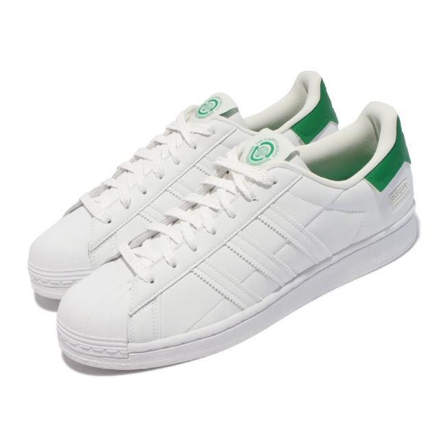 【adidas 愛迪達】休閒鞋 Superstar 經典 運動 男女鞋 海外限定 貝殼頭 皮革 情侶穿搭 白 綠(FY5480)