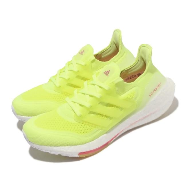 【adidas 愛迪達】慢跑鞋 Ultraboost 21 襪套 女鞋 海外限定 愛迪達 透氣 舒適 避震 螢光黃 白(FY0398)
