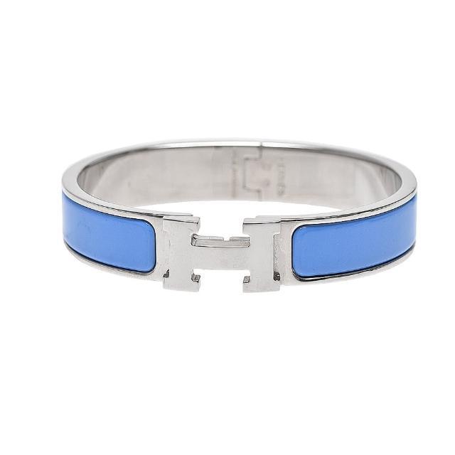 【Hermes 愛馬仕】Clic H LOGO琺瑯細版手環(水藍/銀H700001F-BLEU ORAGE-ARG)