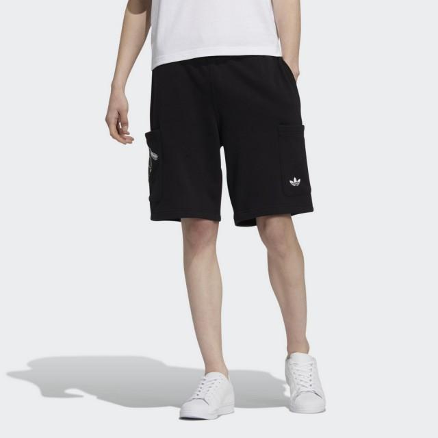 【adidas 愛迪達】運動短褲 DISNEY PIXAR 熊抱哥 男款 黑(HD9081)