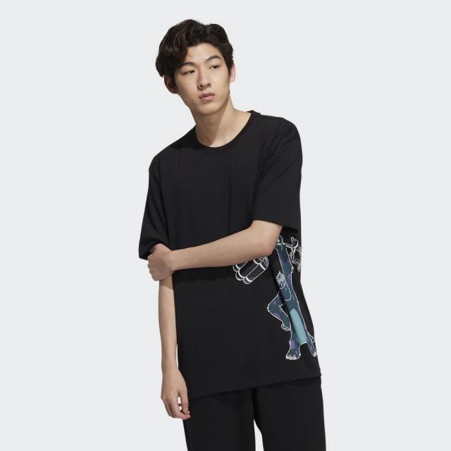 【adidas 愛迪達】短袖上衣 DISNEY PIXAR 毛怪 男款 黑(HD9083)