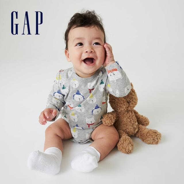 【GAP】嬰兒 純棉印花長袖包屁衣(742768-小熊圖案)