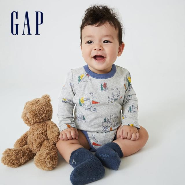 【GAP】嬰兒 純棉印花長袖包屁衣(742768-灰色)
