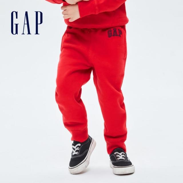 【GAP】男幼童 Logo刷毛運動長褲(740311-紅色)
