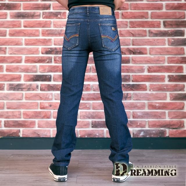 【Dreamming】剌繡標幟刷色伸縮牛仔長褲 彈力 輕薄(深藍)