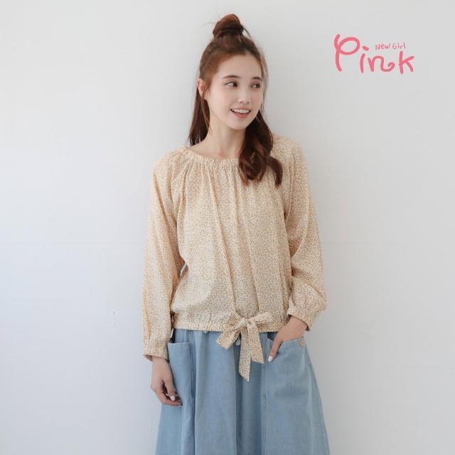 【PINK NEW GIRL】可愛滿版小豹紋下綁結長袖上衣(黃色/棉質)