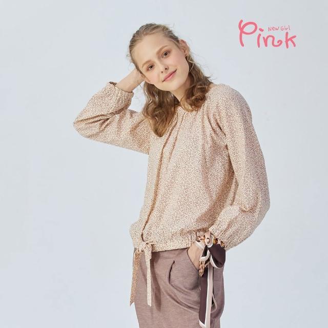 【PINK NEW GIRL】可愛滿版小豹紋下綁結長袖上衣(粉色/棉質)