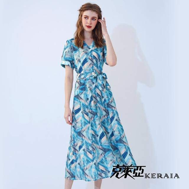 【KERAIA 克萊亞】冰宮水晶琉璃麻料長洋裝(附綁帶)