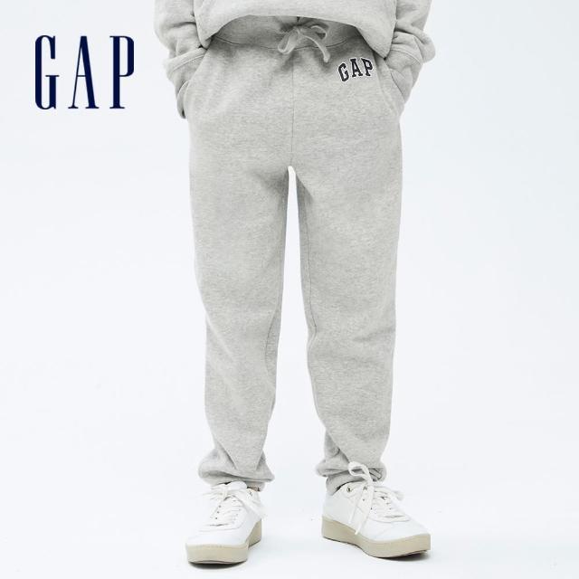 【GAP】男童 Logo刷毛運動長褲(740211-淺灰色)
