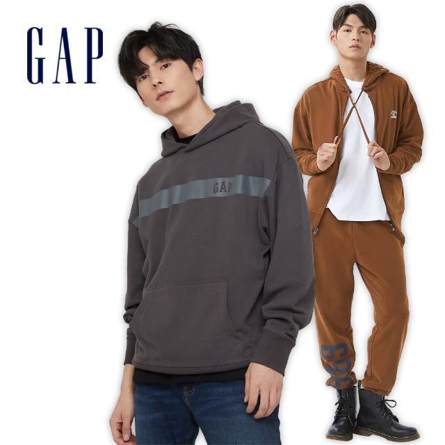 【GAP】男裝 Logo法式圈織軟連帽休閒上衣(737292-海軍藍)