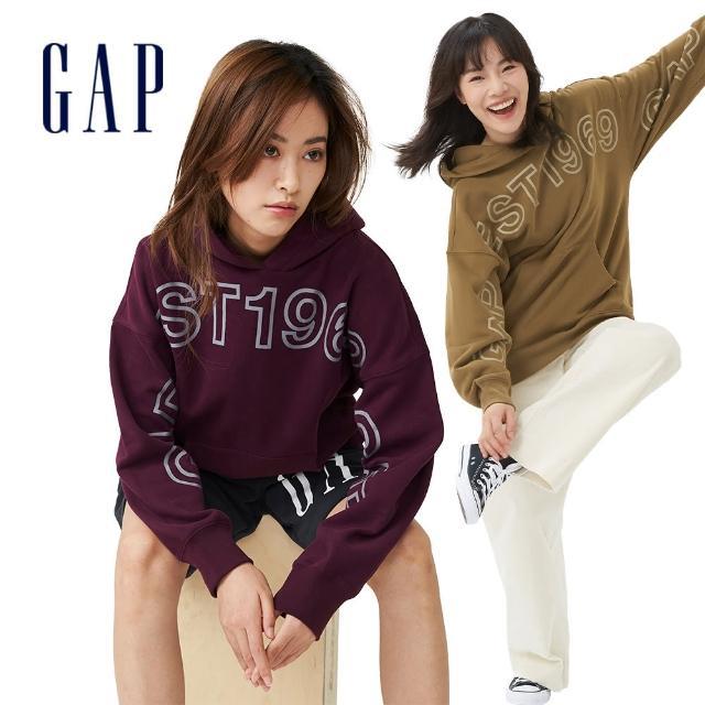 【GAP】女裝 Logo印花寬鬆連帽休閒上衣(738834-深紫色)