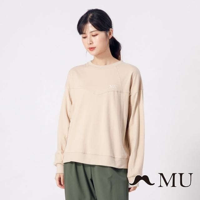 【maru.a】MU 設計感剪裁經典LOGO長袖上衣(卡其)