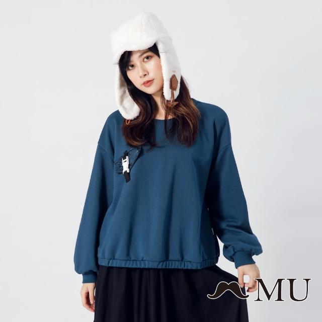 【maru.a】MU 胸前假口袋裝飾長袖上衣(深藍)