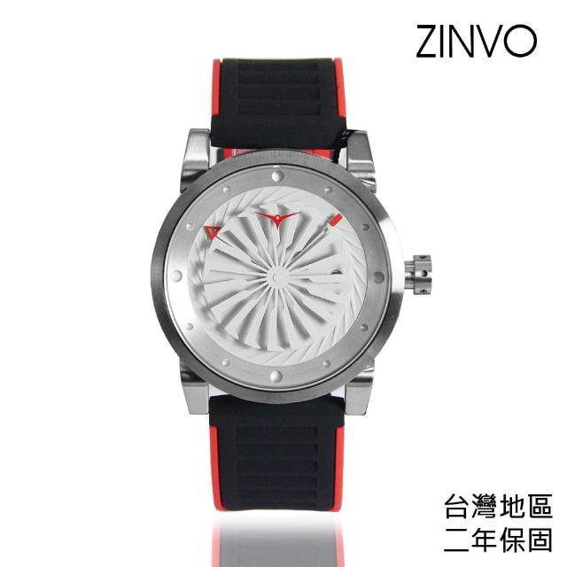 【ZINVO】銀殼 紅黑矽膠錶帶 機械腕錶 贈機械錶自動上鍊盒 父親節禮物首選(Blade Magic)