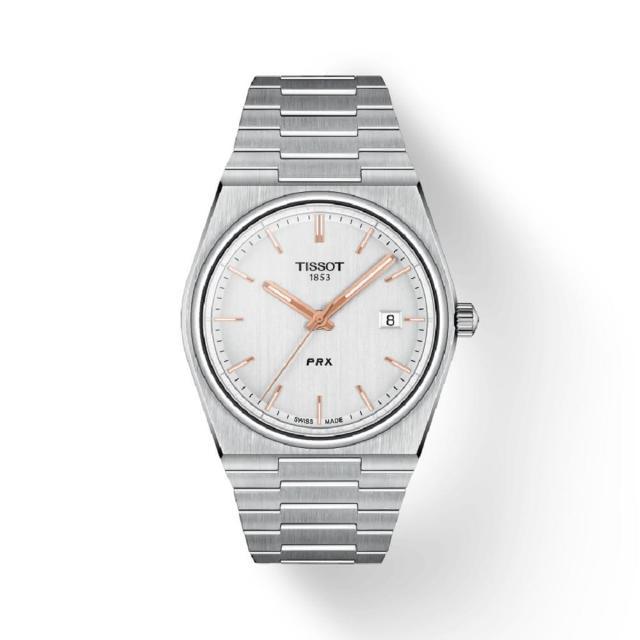 【TISSOT 天梭】PRX 復古新時尚錶/40mm(T1374101103100/白色面)