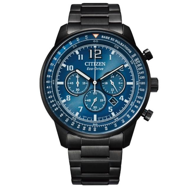【CITIZEN 星辰】美式休閒三眼計時光動能腕錶(CA4505-80L)