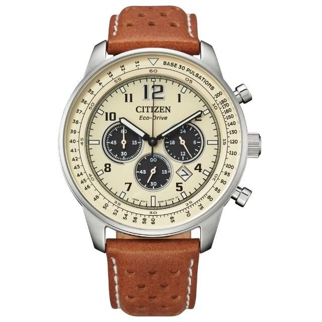 【CITIZEN 星辰】美式休閒三眼計時光動能腕錶(CA4500-16X)