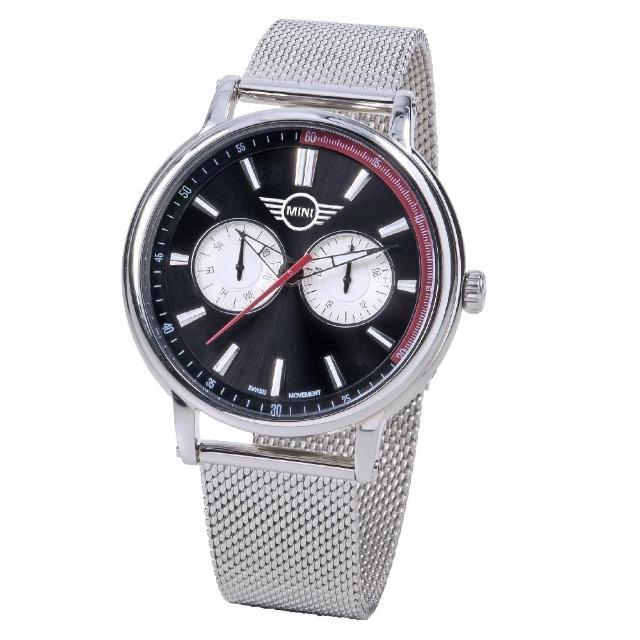 【MINI SWISS WATCHES】石英錶 43mm 黑底二眼錶面 銀色網面錶帶(銀色)
