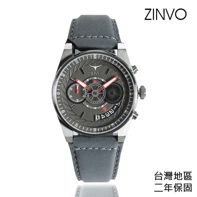 【ZINVO】灰殼 灰面 皮革錶帶 父親節禮物首選(Chrono Gunmetal)