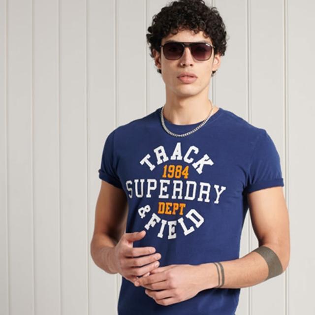 【Superdry】男裝 短袖T恤 美式學院風 TRACK N FIELD GRPC(深藍)
