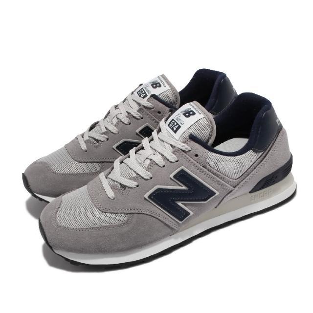 【NEW BALANCE】休閒鞋 574 復古 基本款 男女鞋 紐巴倫 N字鞋 麂皮 穿搭 情侶鞋 灰 藍(ML574BE2-D)