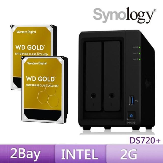 【搭WD 金標 4TB x2】Synology 群暉科技 DS720+ 2Bay 網路儲存伺服器
